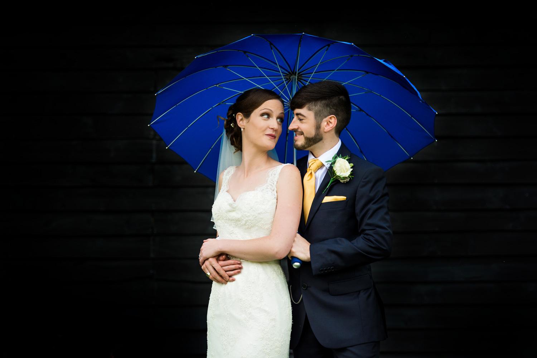 Winters Barn portrait of bride and groom