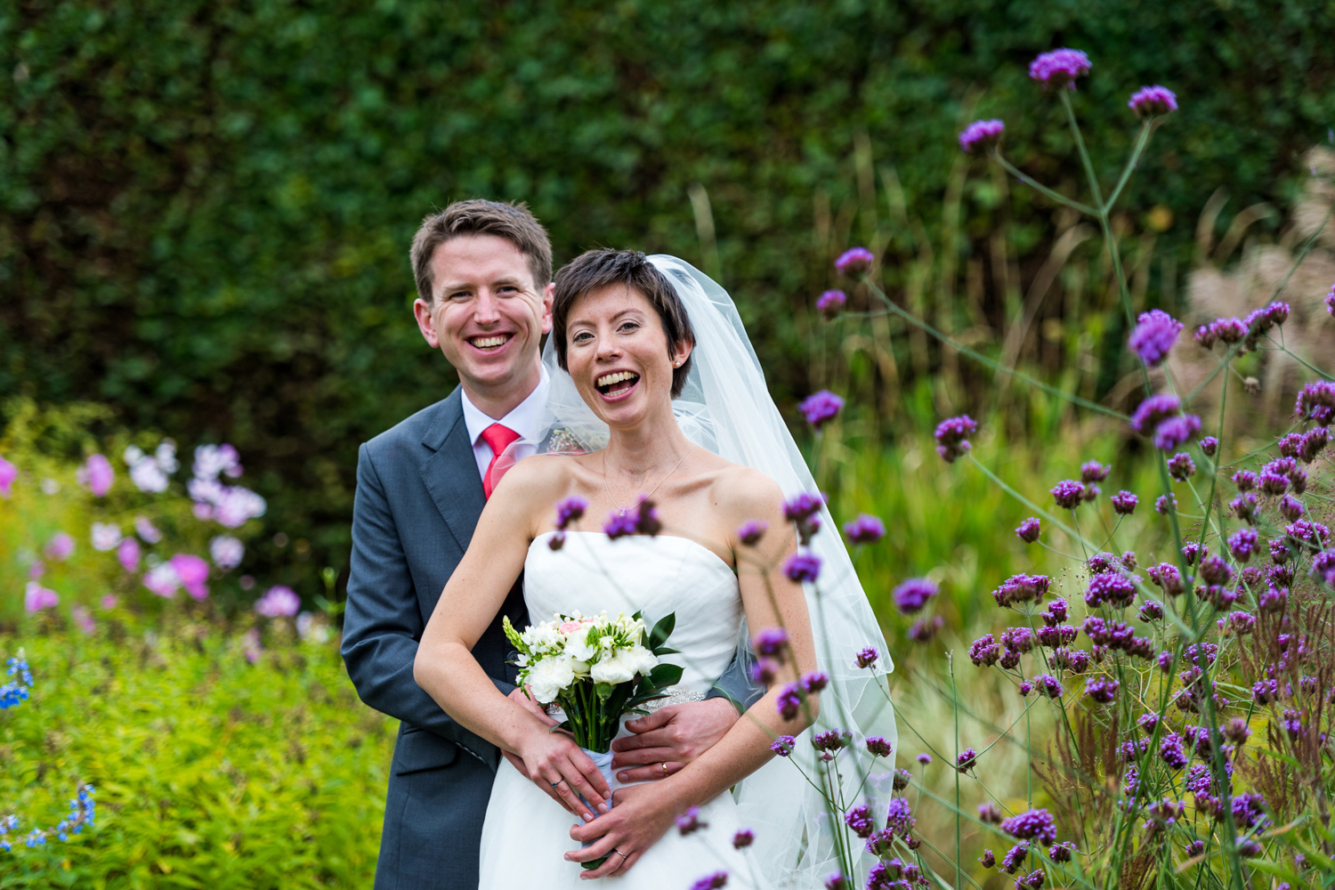 colourful portrait of bride and groom
