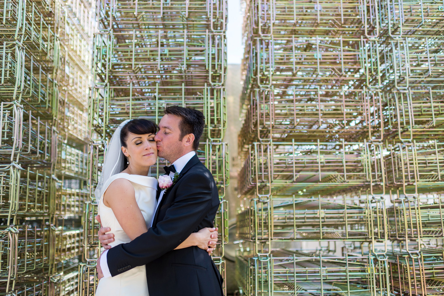 cool portrait of bride and groom