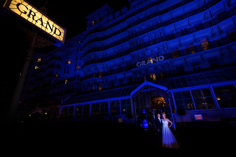 bride and groom grand hotel Brighton