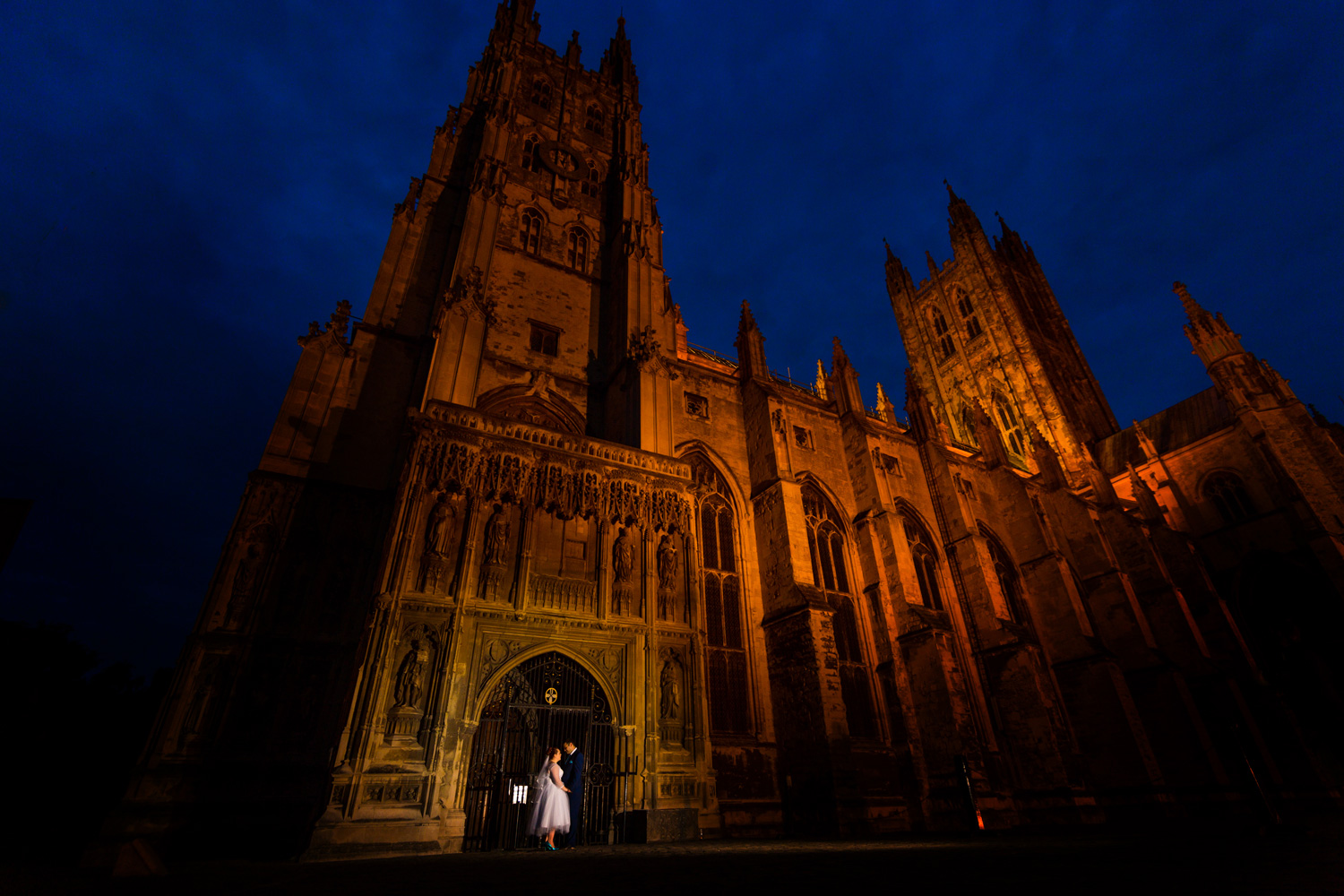 portrait of bride and groom at Canterbury cathedral