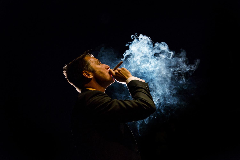 Groom with cigar