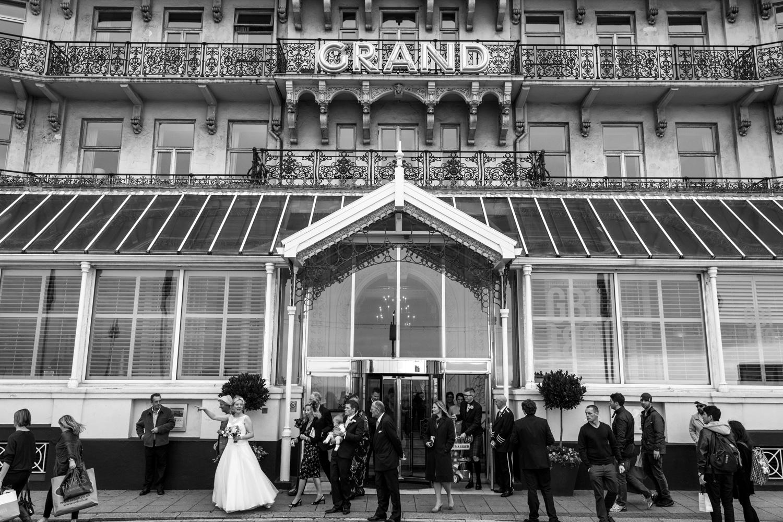 bride outside the grand hotel