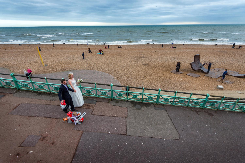 bride and groom on Brighton sea front
