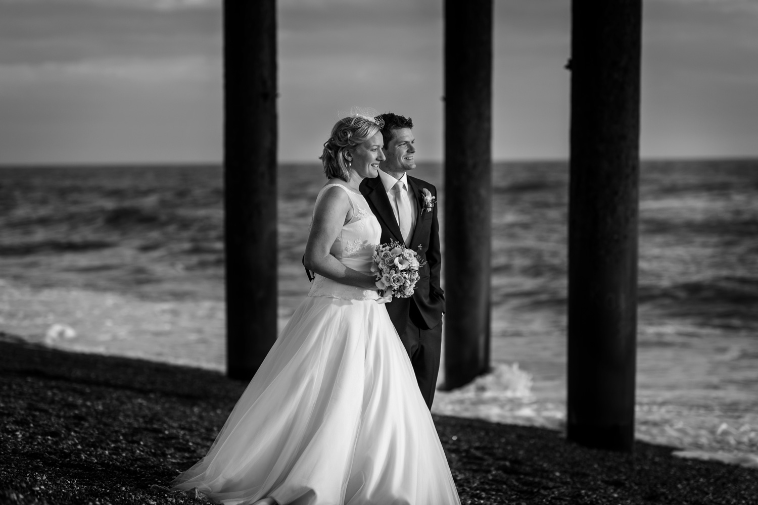 bride and groom on Brighton beach