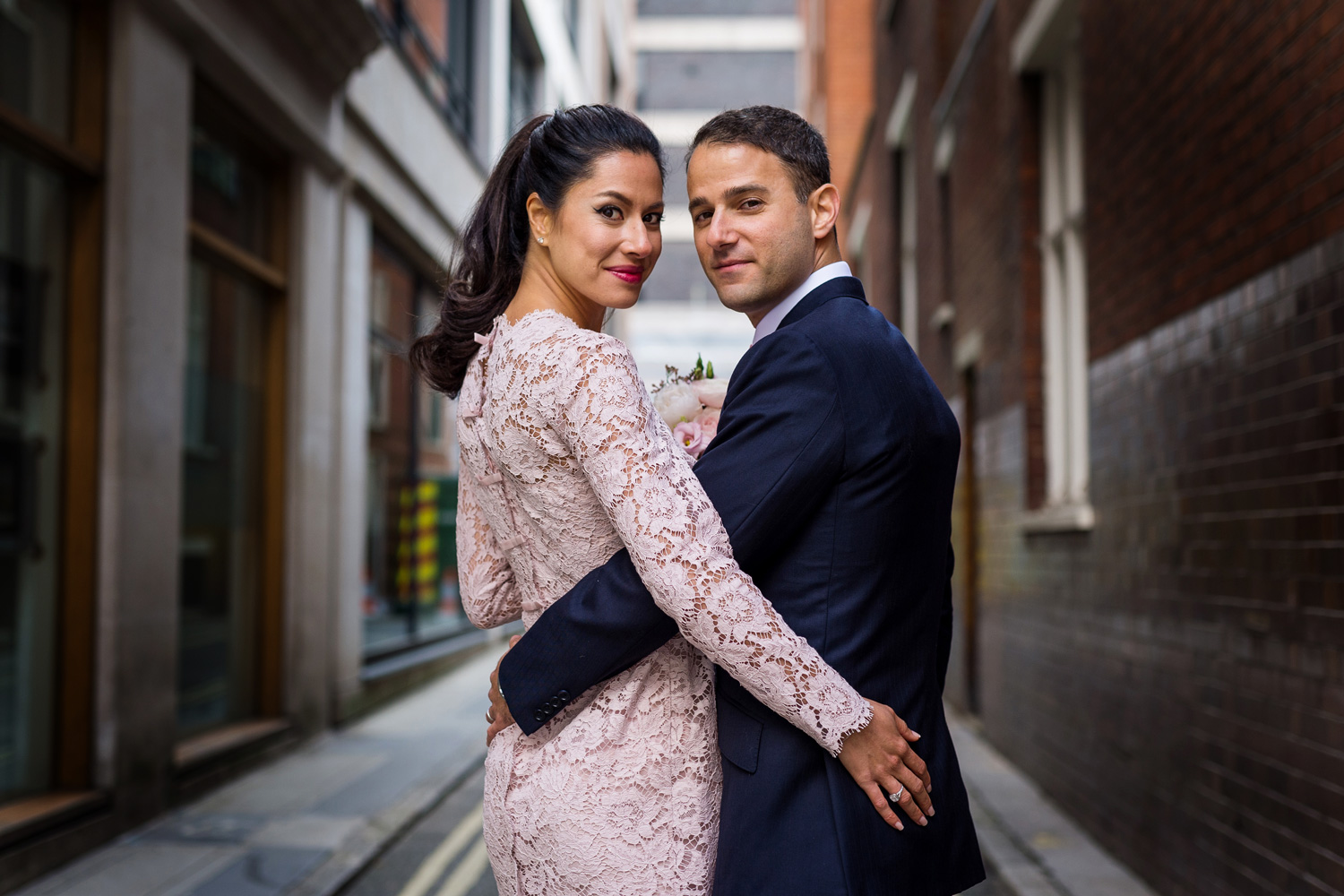 bride and groom in London street