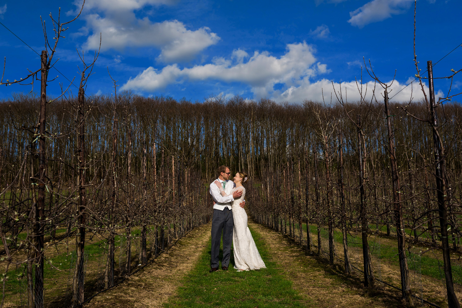 portrait of bride and groom at the barnyard