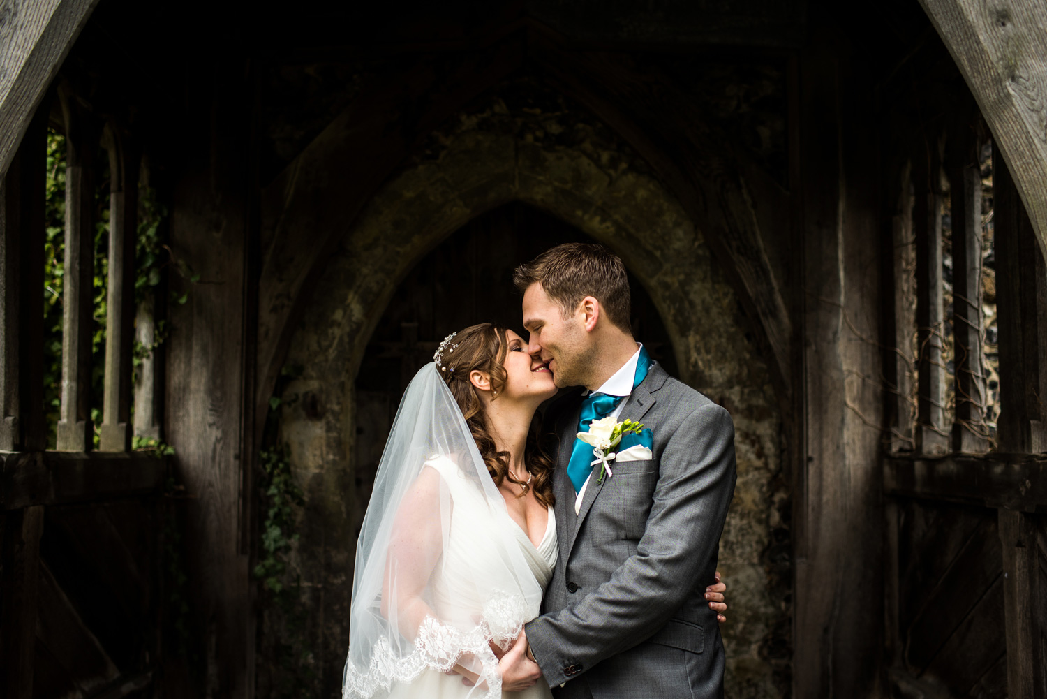 bride and groom portrait at church