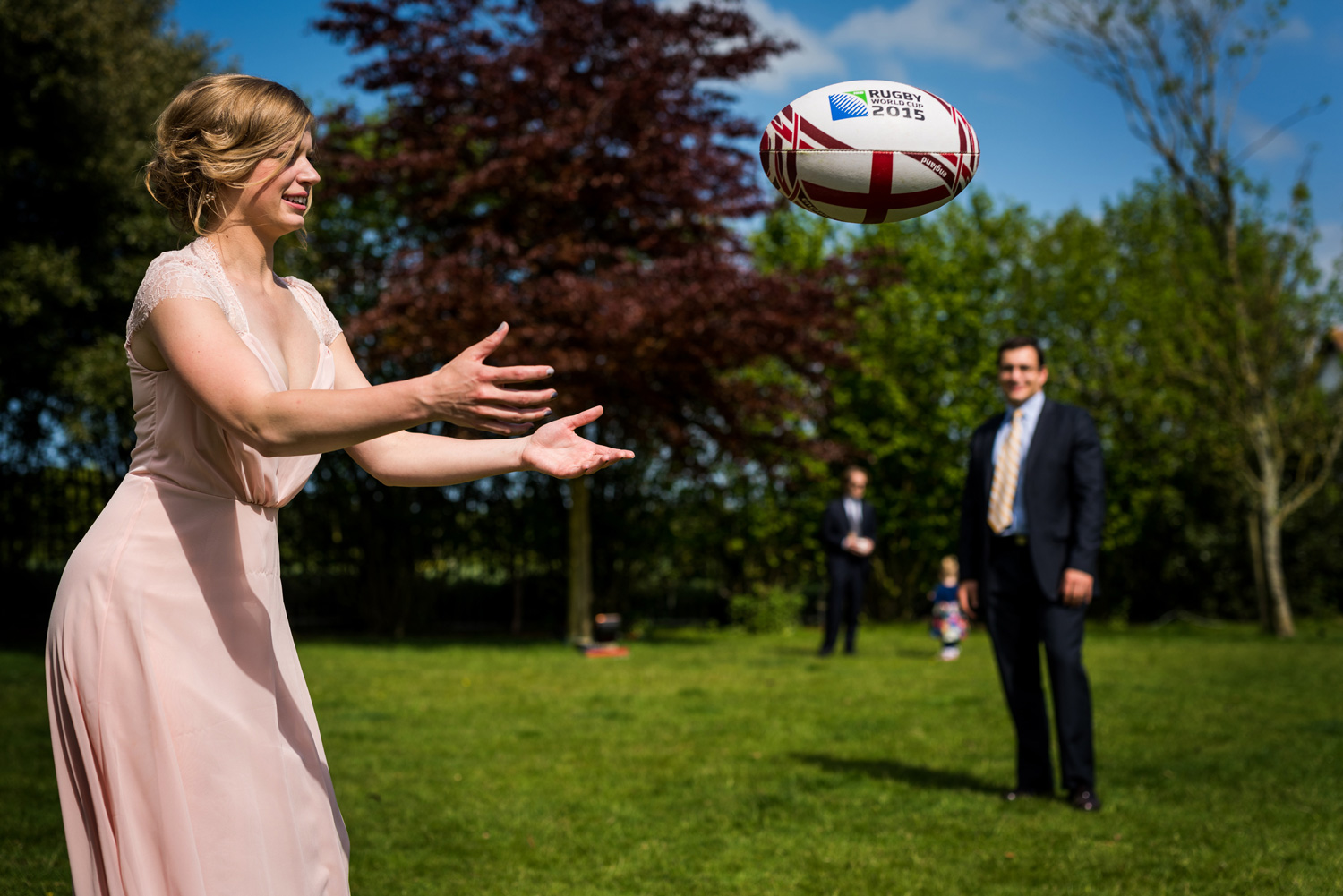 bridesmaid playing rugby