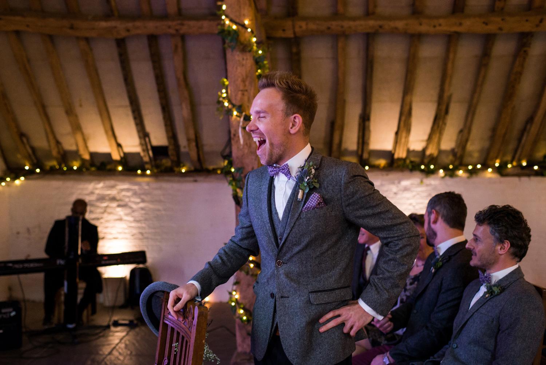 groom at Ufton Court wedding